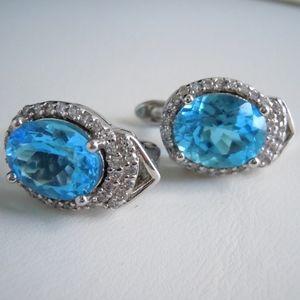 Cubic Zirconia & Blue Leverback Earrings